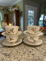 4 FLINTRIDGE china GAME BIRDS gold trim pattern Cup & Saucer Sets