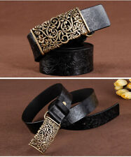 Genuine Leather Belts For Women Cowhide Embossing Design Carving Buckle