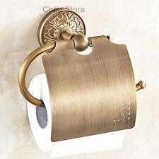Bathroom Antique Brass Toilet Paper Roll Holder Wall Mounted Tissue Rack Flower