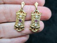 Vintage-1960's Gold Tone Faux Pearl & Rhinestone Dangle Pierced Earrings