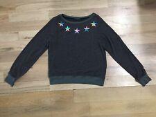 $98 Wildfox Rainbow Stars Fuzzy Pullover Sweatshirt in Gray Sz S