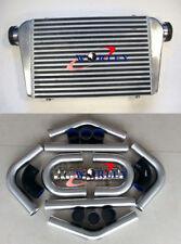 "Universal 450x300x75mm intercooler + 3"" aluminium piping+black Silicone Hose kit"