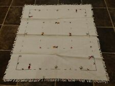 Hand Embroidered Linen Tablecloth with Farmers