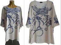 NEU Übergröße tolles Damen Stretch Shirt hell beige blau Glitzersteine Gr.62