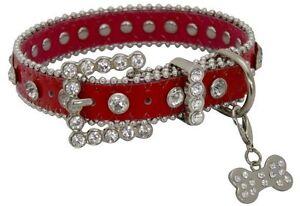Showman Couture XS RED Leather Dog Collar w/ Rhinestones & Bone Charm!! NEW!!