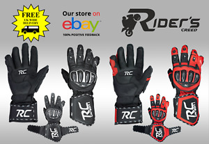 Riders Creed RC Carbon1 Leather Motorbike Racing Gloves Motorcycle Racing Gloves