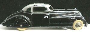 "Vintage Tootsietoy Car 5 3/4"" #1017 Black & Silver Jumbo Coupe Nice Condition"
