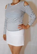 Women Top Striped Rib Stretch Long Sleeve Off Shoulder Atmosphere Size 14
