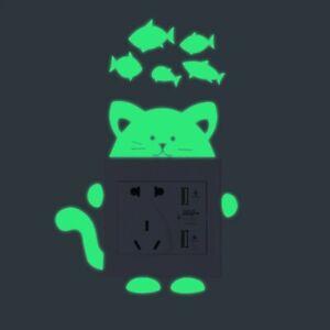 Glow Switch Sticker Cute Cat and Fish Luminous Kids Wall Sticker Home Decoration