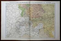 German Empire Bavaria Wurttemberg Switzerland 1874 color lithographed map