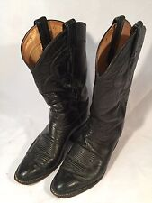 Tony Lama Jet Black Western Cowboy Boots Style 5984 Size 8 EE Wide USA made