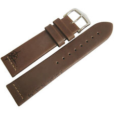 20mm Hirsch Earth Brown Made in Austria Leather Compass Rose Watch Band Strap