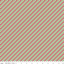 Riley Blake Pixie Noel Christmas Fabric.Pixie Stripe Green.Candystripe.by the FQ