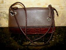 Brighton Pebbled Brown Leather & Croc Embossed Mini Bag Purse Handbag