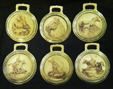 Set of 6 Horse Theme PORCELAIN BISQUE HARNESS BRASSES Rare EARLY WOW YOUR WALLS!