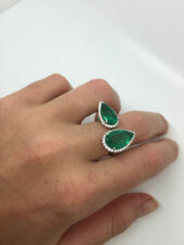 Not Enhanced Emerald Solitaire with Accents Fine Rings