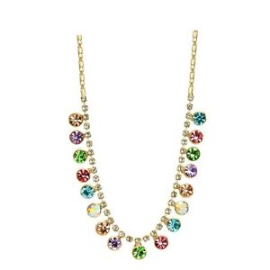 Made With Swarovski Crystals Choker Necklace Multi Colored Tennis Jewelry