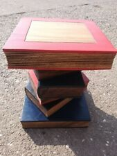 Rustic Wooden Book Stack Side Table 40cm