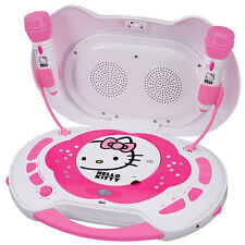 NEW Hello Kitty CD Player & Karaoke System w/ Disco Light & 2 Microphones KT2003