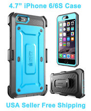 New Supcase For iPhone 6/6S Unicorn Beetle Full Body Rugged Holster Case Blue