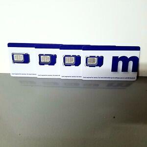 LOT OF 4  Metro by T-Mobile (MetroPCS) 3-in-1 sim cards triple cut