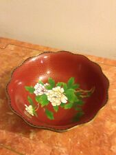 Red Cloissonne Chrysanthemum and Butterfly Bowl Chinese Scalloped Edge