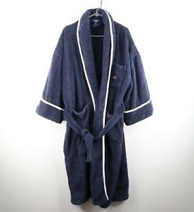 Vintage 90s Nautica Mens XL / 2XL Spell Out Belted Terry Cloth Bath Robe Navy