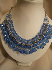 Stunning New Colette Blue Crystal Bead Bib Necklace Niquea.D Papyrus NWT