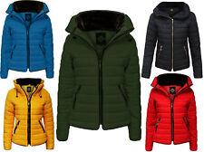 Womens Padded Warm Jacket Ski Puffa Coat Zip Hood Winter Bright Hiking UK Style