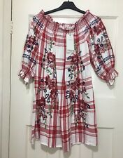 Zara Red off The Shoulder Checked Dress With Floral Embroidery Size S