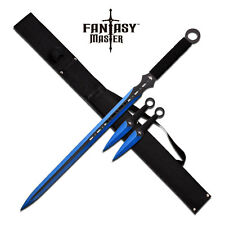 Fantasy Master Black and Blue Sword with Sheath and Throwing Knives Set Gift
