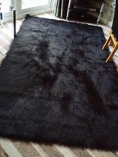 LARGE BLACK FAUX SHEEPSKIN SHAGGY FLUFFY RUG 150 x 240CMS