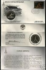 RUSSIA 1980 MOSCOW OLYMPIC CANOE ROWING SILVER COIN + FDC UNC CURRENCY STAMP