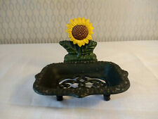 Decorative Metal Plate Bowl Sunflower Floral Dish