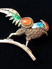 VTG CHINESE SILVER BIRD FIGURAL~ENAMEL W/CARNELIAN CAB~