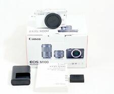 Canon EOS M100 24.2 MP Digital SLR Camera White Silver Body Only Items Shown