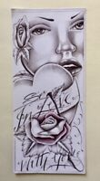 """ORIGINAL INMATE ART DRAWING """"SO IN LOVE WITH YOU"""" HEART ROSES ROMANCE PORTRAIT"""