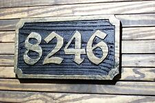 Carved Address Sign Brass Finished Wood Hand Painted Plaque