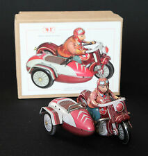 CLASSIC MOTORCYCLE & SIDECAR with RIDER Tin Toy Clockwork