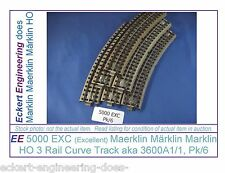 EE 5000 EXC Marklin HO 3R 3 Rail Curve Track Pk6 3600A1/1 Standard Crv Excellent
