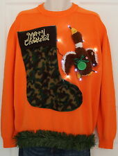 UGLY Xmas Sweater Duck Hunter SIZE Mens Large Lights Up #15D3  :)