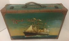 Vintage RED STAR LINE Wood Suitcase Beautiful Extremely Rare!!