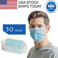 50 PCS Face Mask 3-Ply Earloop Surgical Dental Disposable
