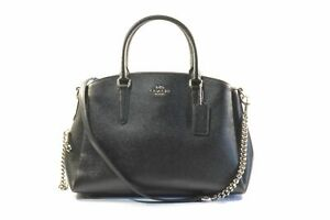 Coach F28976 SV/BK Sage Black Crossgrain Leather Caryall Ladies Satchel Bag