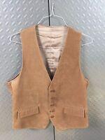 19130 Mens 5 Button Suede Vest ~ Medium ~  Satin LIned ~ Tan