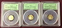 Lot Of 3 1/10 Oz. $5 Gold Eagle FIRST STRIKE 1/874 MS-70 PCGS 30th Anniversary