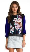 Milly Neon Floral Raglan Silk Sweatshirt In Multi Small Preowned $295 Revolve