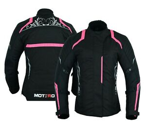 Motero Ladies Womens Motorcycle Waterproof Windproof CE Armoured Cordura Jacket
