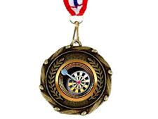 45 mm metal DARTS medal trophy with ribbon DARTBOARD trophies