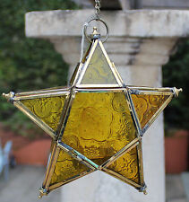 Rustic Style  Hanging Tea Light Star Shaped  Candle Holder   ( Gold )  BRAND NEW